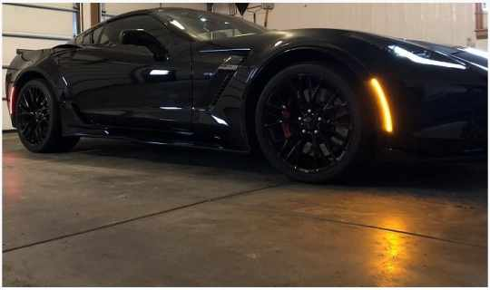 Full Strip Led Side Markers Blackouts And Clear For C7 Corvette