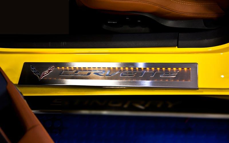 & LED Stainless Steel Door Sill Overlays for C7 Corvette Stingray | PFYC