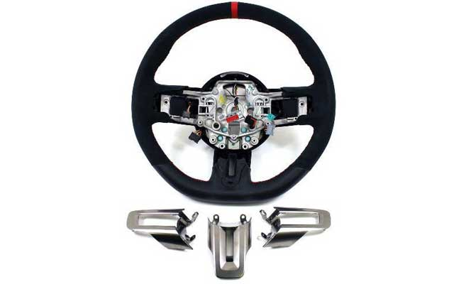 2015-2017 Mustang /& GT350R Steering Wheel Suede /& Leather Red Stitching