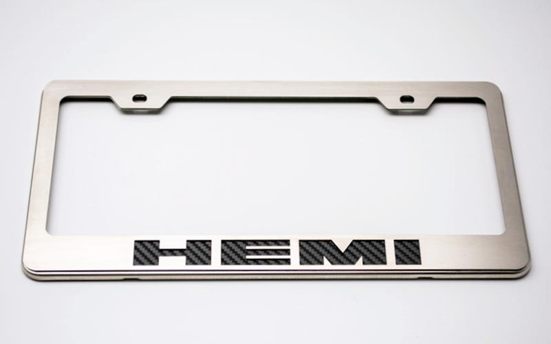 Stainless License Plate Frame with Color or Carbon Fiber Logo Inlay ...